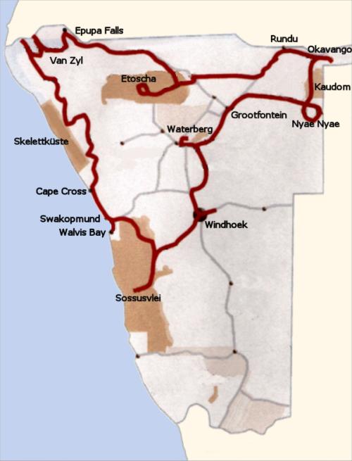 Reiseroute durch Namibia